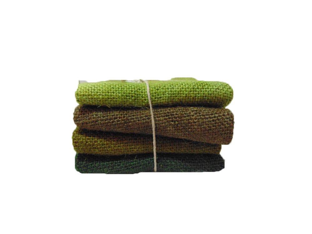 Greens Burlap Chiclet 4pcs 7x9inches