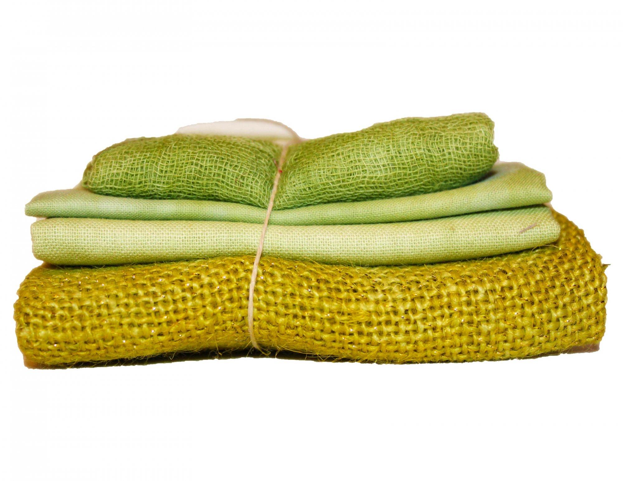 Kiwi Sparkle Bindle - Cheesecloth, Organdy, Linen, & Sparkle Burlap
