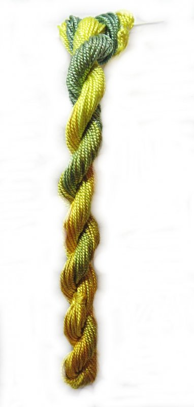 Limeade Shimmer- 10yds Hand-Dyed Fine Silk Cord