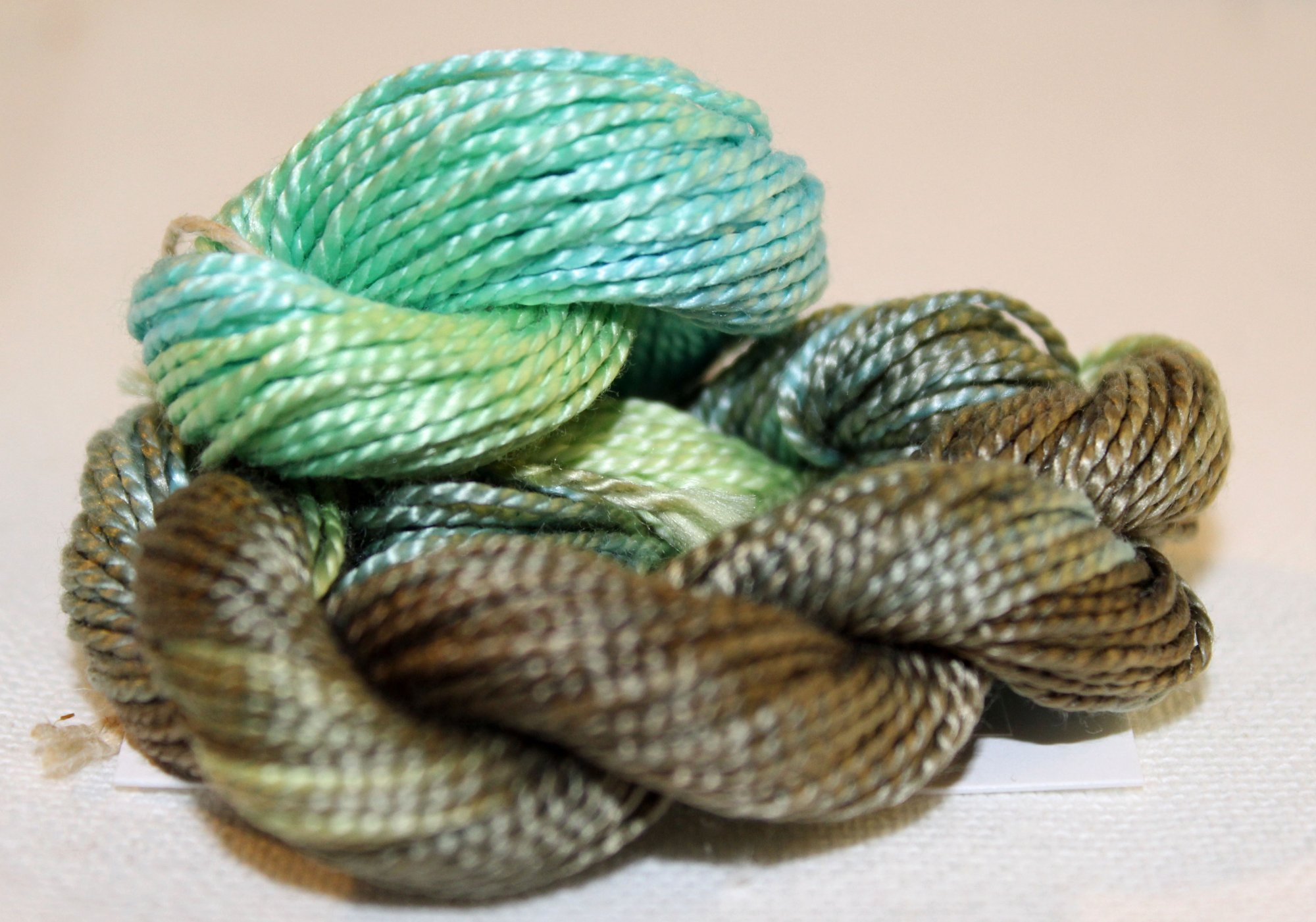 Moss Shimmer- 10yds Hand-Dyed Fine Silk Cord