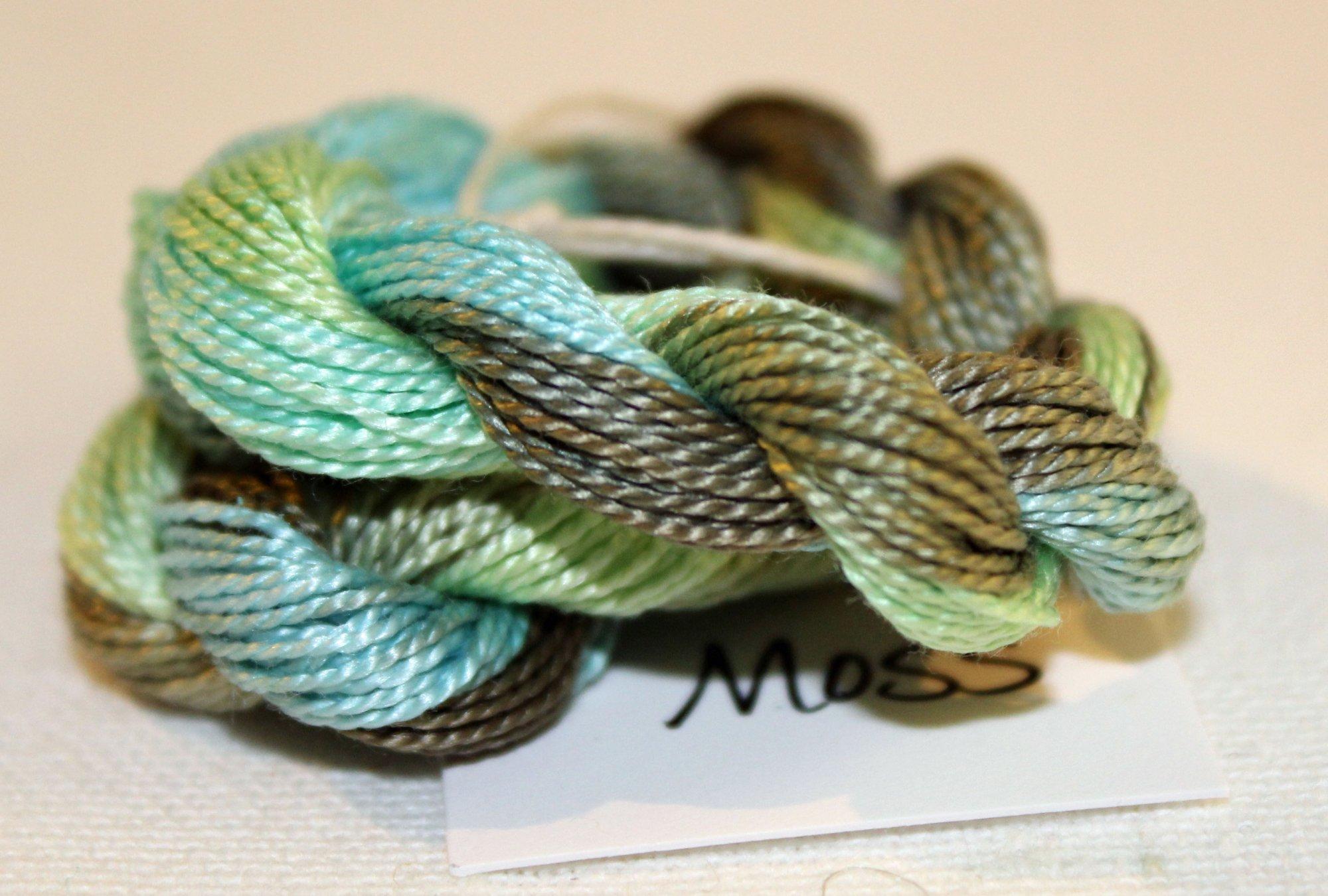 Moss Whisper- 10yds Hand-Dyed Fine Silk Thread