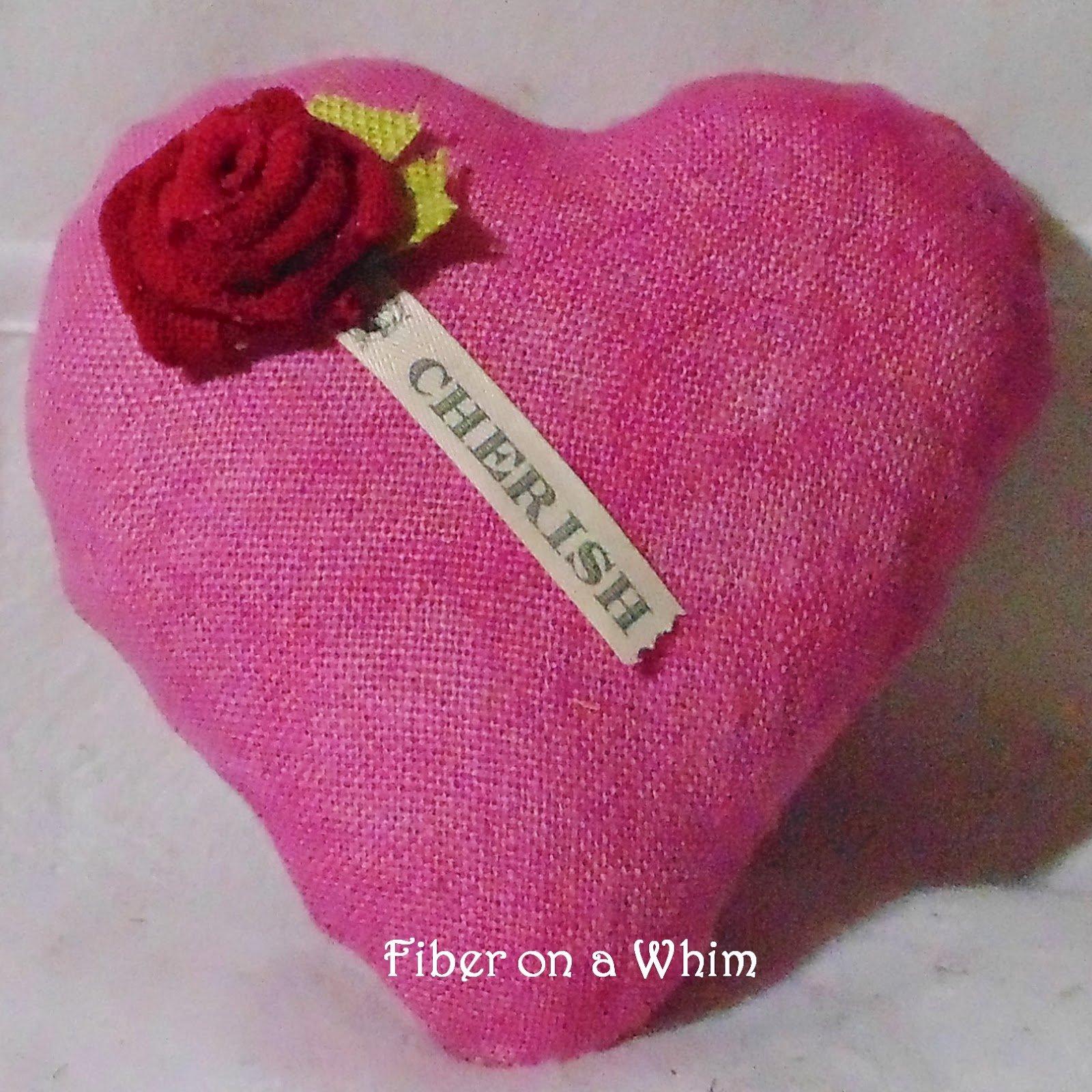 Pink Cherish Burlap Heart Pillow - Shop Sample