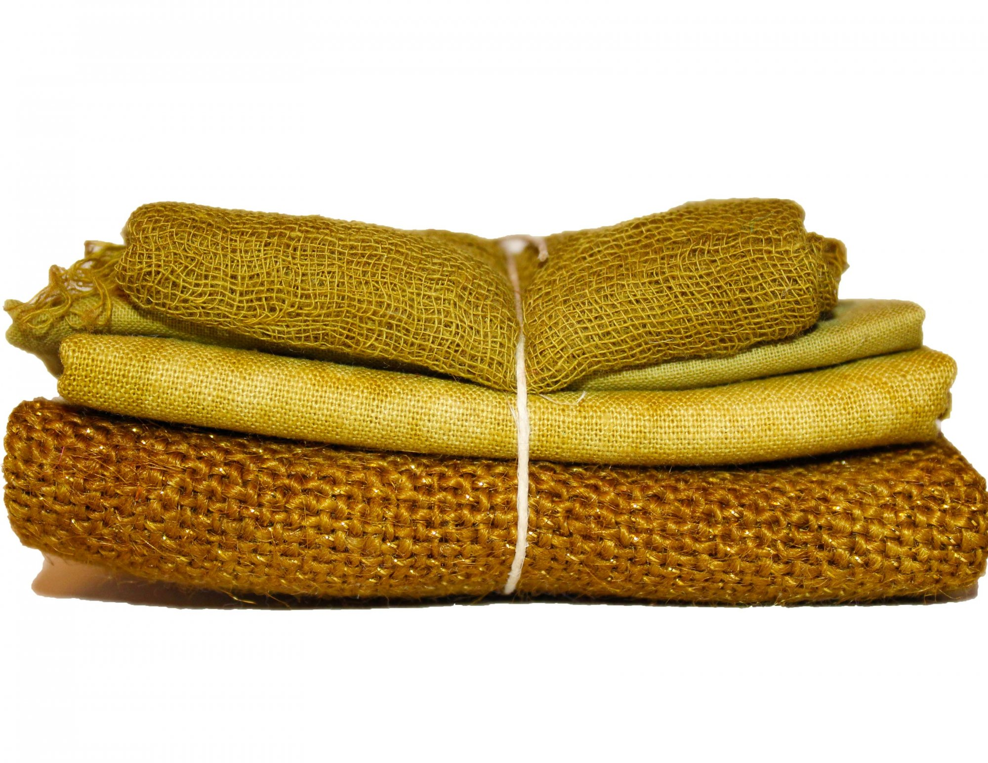 Spicy Mustard Sparkle Bindle - Cheesecloth, Organdy, Linen, & Sparkle Burlap