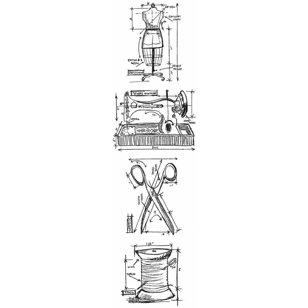 Tim Holtz Mini Blueprints Strip Cling Stamps 3X10
