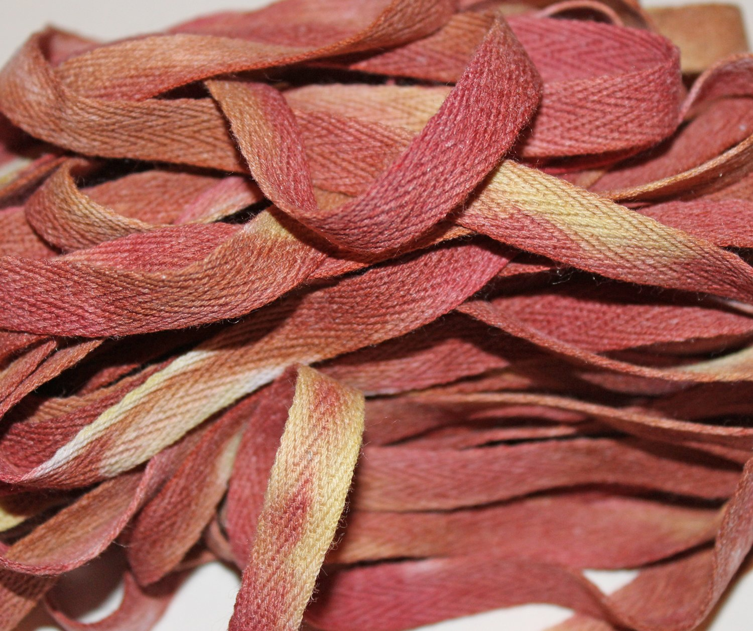 Tuscan Sunset - Hand-dyed Cotton Twill Tape 3/8 wide
