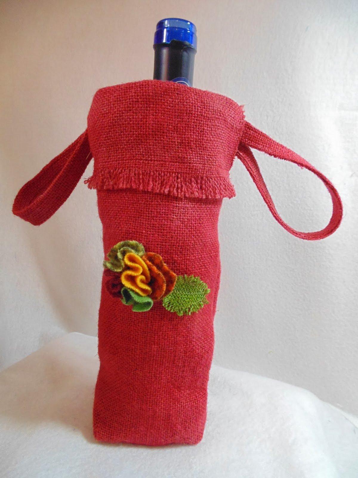 Burlap Wine Bottle Gift Bag with Wool Flower