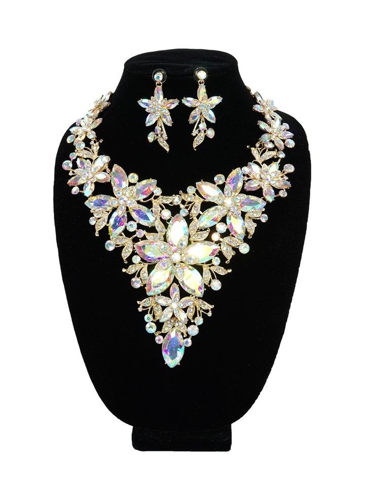 Iridescent Floral Rhinestone N/E Set