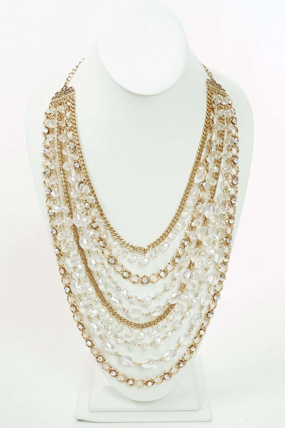 Filigree Beaded Necklace Set-Clear AB/Antique Gold