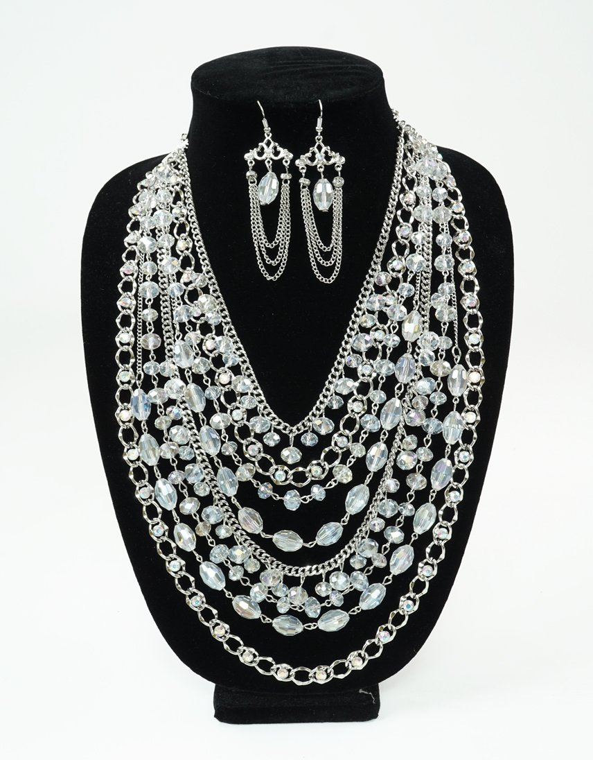 Filigree Beaded Necklace Set-Clear AB/Silver