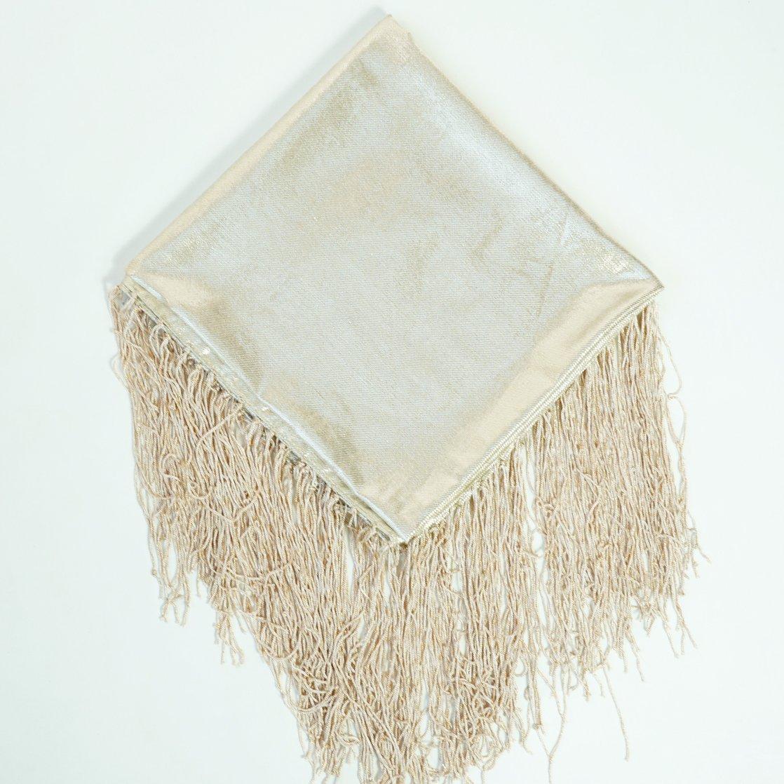 White Gold Metallic Fringe Shawl