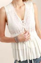 Lace tiered ruffle sleeveless top