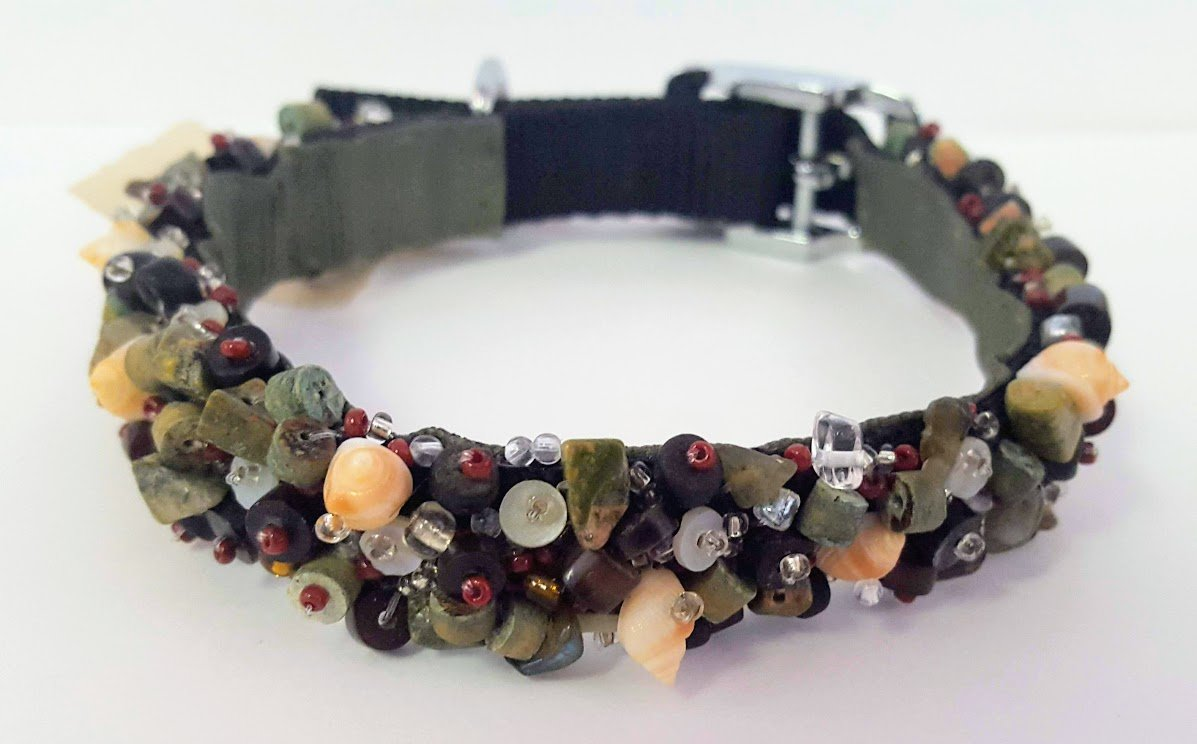 Camo Beaded Custom Dog Collar