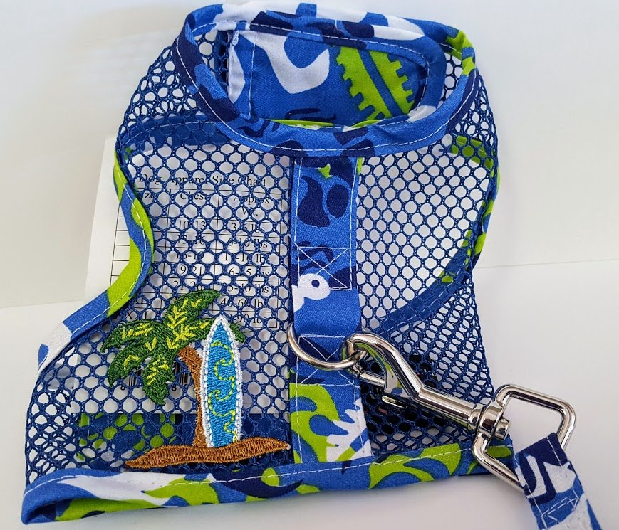 Blue Mesh Harness with Surfboard