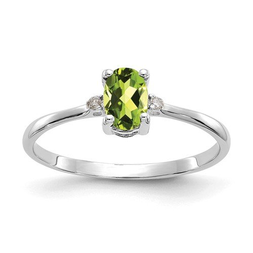10K-W Oval Peridot & Diamonds Ring