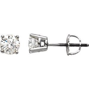 14K Round Diamond Stud Screw Back Earrings