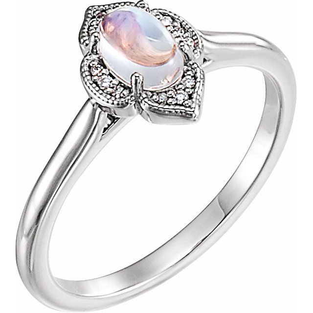 14K-W Cabochon Rainbow Moonstone & Diamond Clover Ring