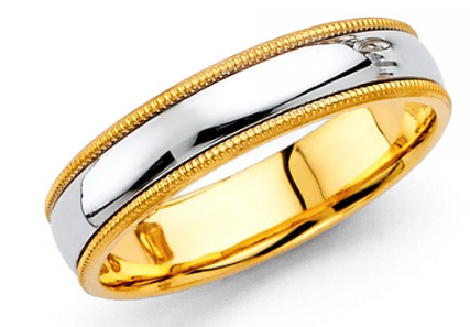 14K Two Tone Milgrain Wedding Band