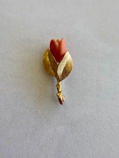 14K-Y Coral Rose Brooch