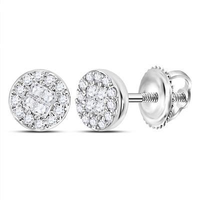 14K-W Round/Princess Cluster Diamond Stud Earrings