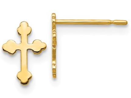 14K-Y Cross Stud Earrings
