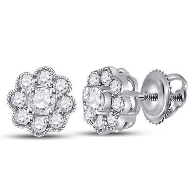14K-W Round Diamond Cluster Flower Stud Earrings