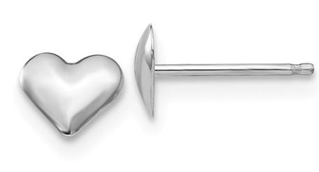 14K-W Heart Stud Earrings