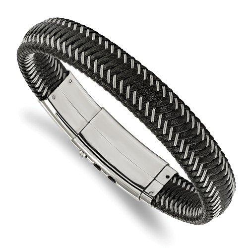 Stainless Steel Black Leather & Wire Adjustable Bracelet