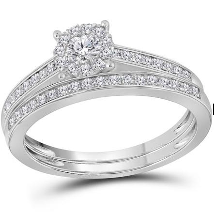 14K-W Round Diamond Halo Wedding Set