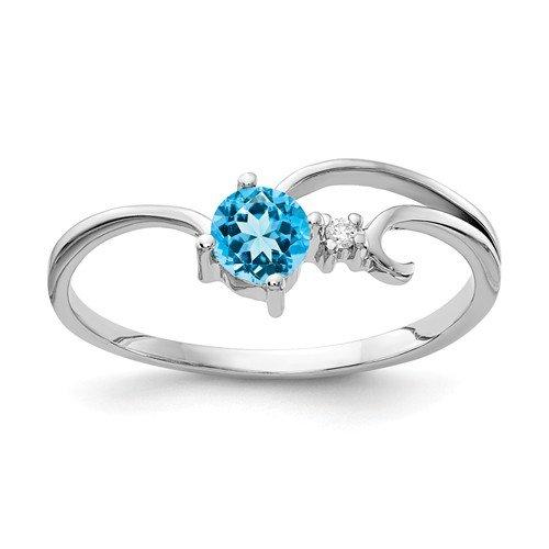 14K-W Blue Topaz & Diamond Ring