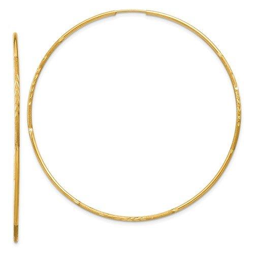 14K-Y Diamond Cut Endless Hoop Earrings