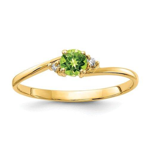 14K-Y Round Peridot & Diamond Ring