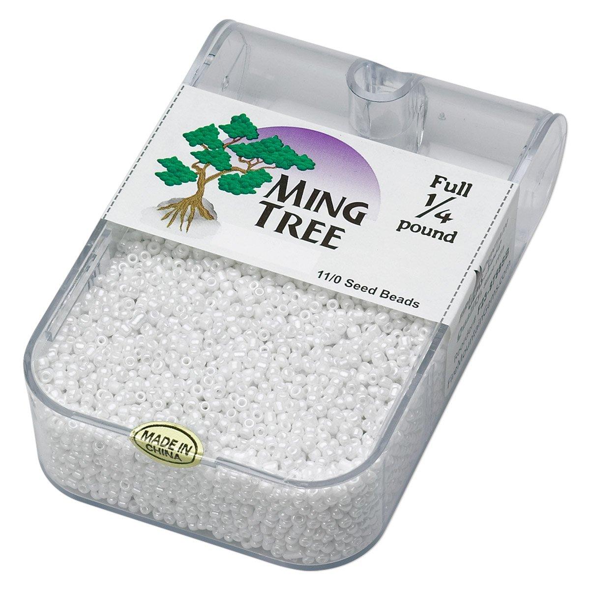 Ming Tree full 1/4 lb 11/0 seed beads White Luster