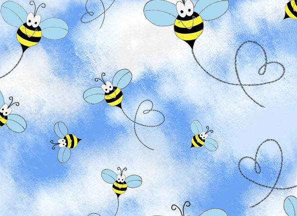 Quilting Treasures Bee Boppin Bees & Clouds Fabric by Embellish Express