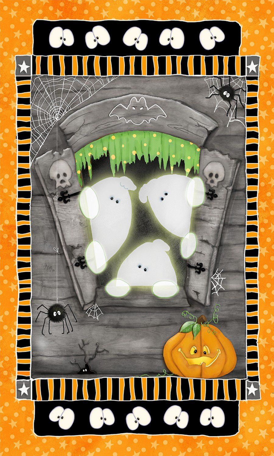 Henry Glass Glow in the Dark Halloween Fabric Panel Chills and Thrills by Shelly Comiskey