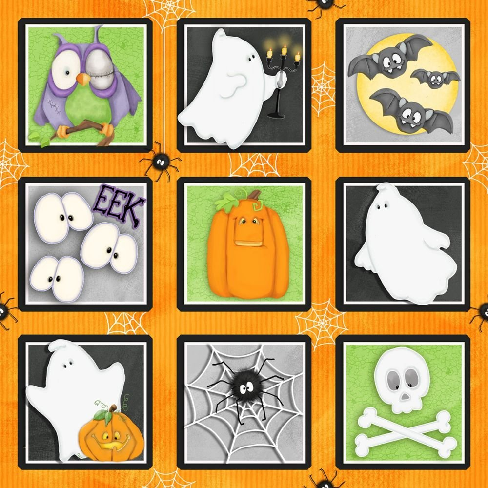 Henry Glass Glow in the Dark Halloween Fabric Chills and Thrills by Shelly Comiskey