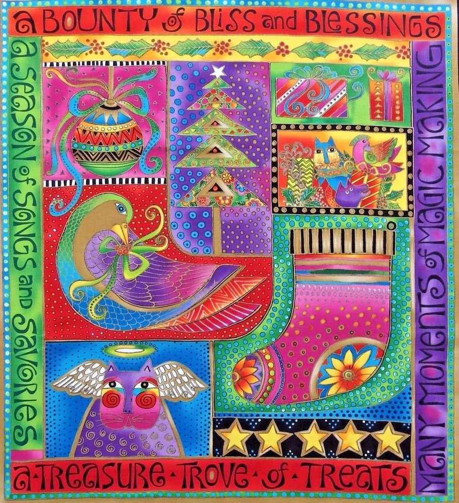 Clothworks Bountiful Blessings Christmas Fabric Panel By Laurel Burch