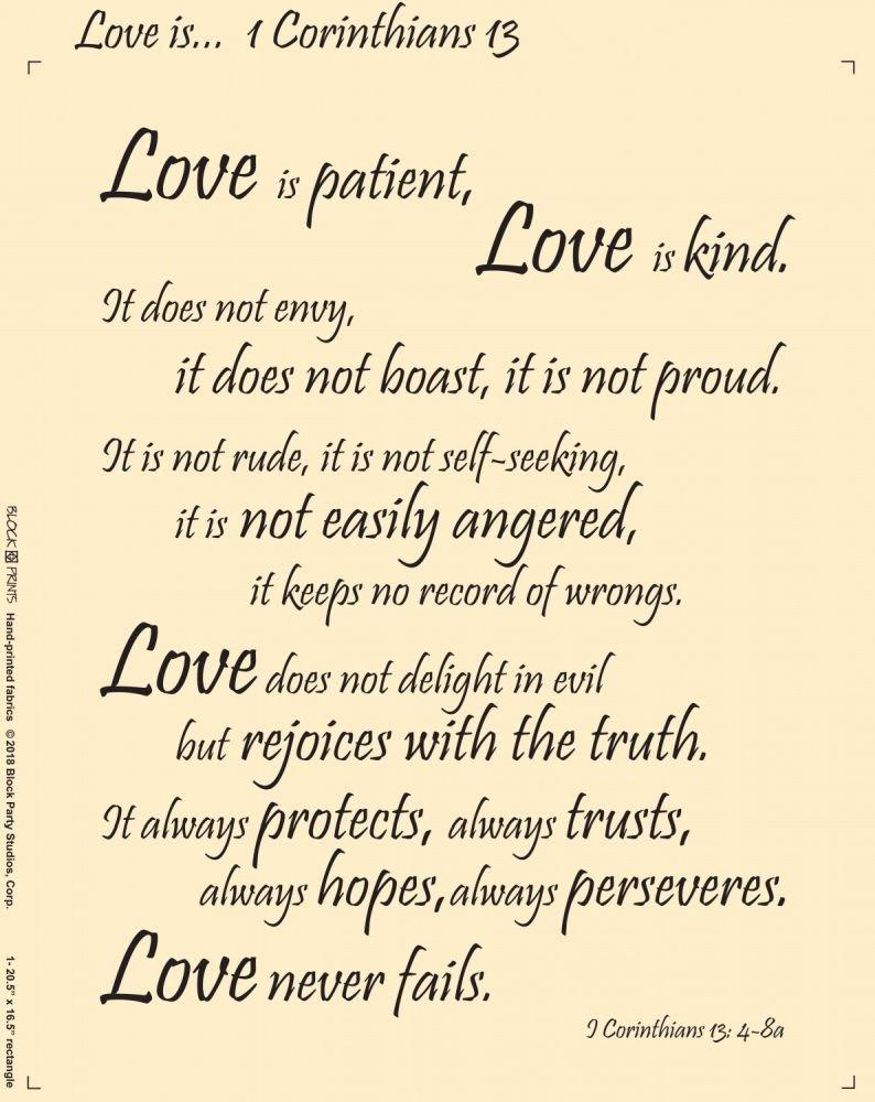 Love is ... 1 Corinthians 13 Fabric Panel