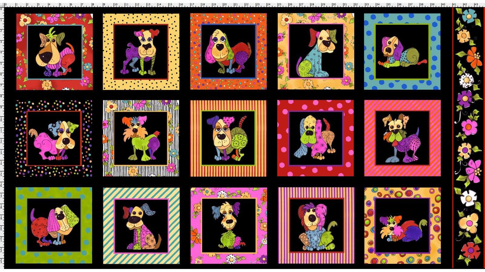 Loralie Fabric Panel Dog Happy