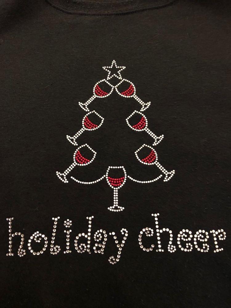 Rhinestone Holiday Cheer Glasses Heat Transfer