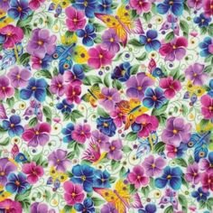 Blank Quilting Pansy Passion Fabric