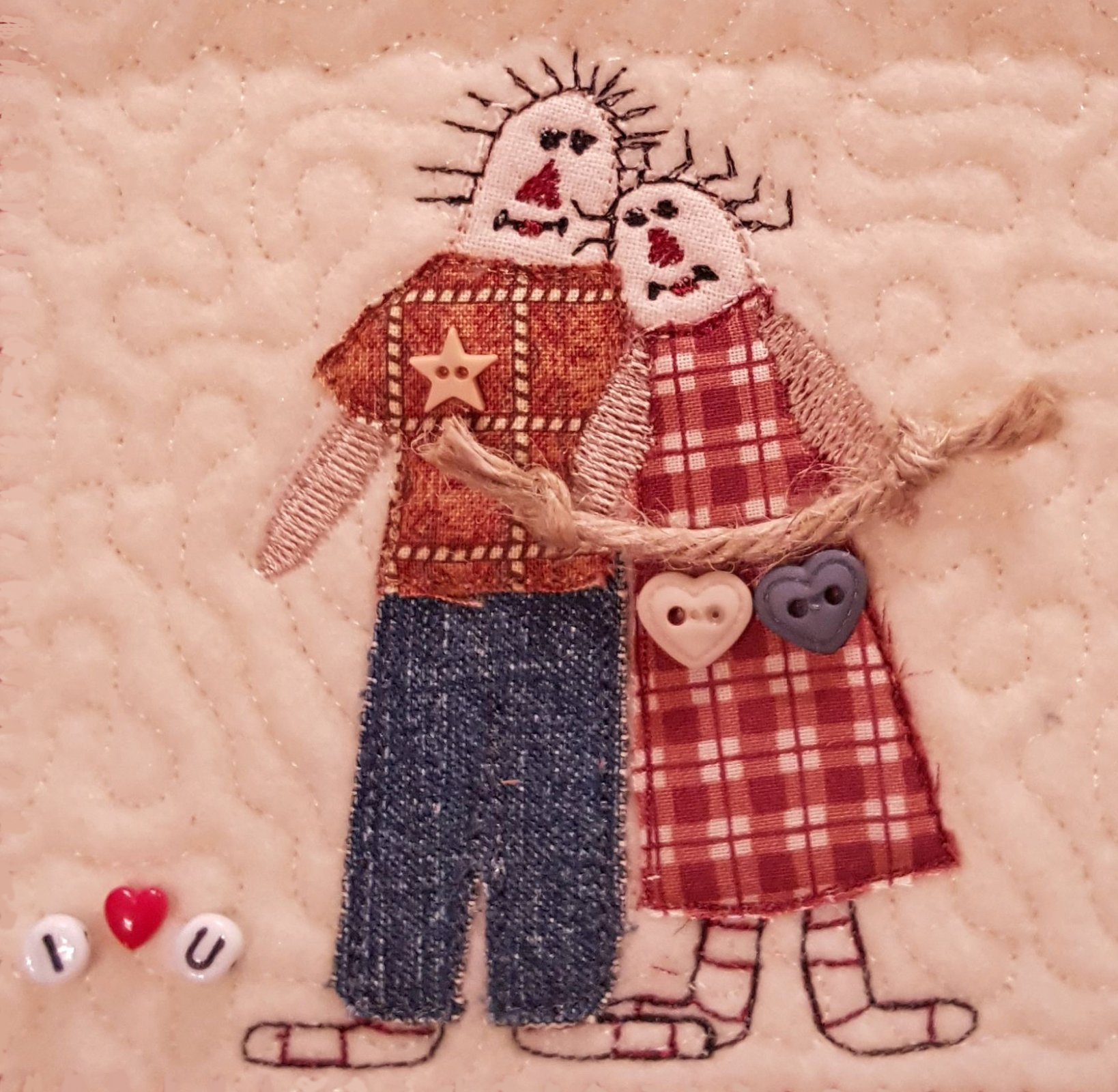 Raggedy Couple Quilted Block