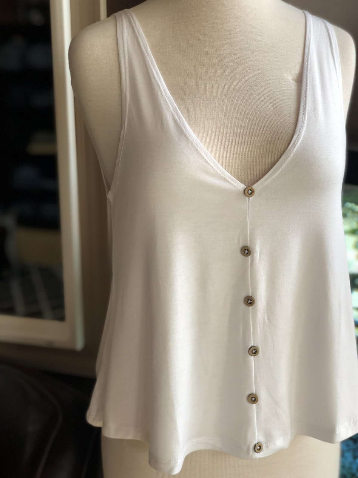 Angie wood button swing tank