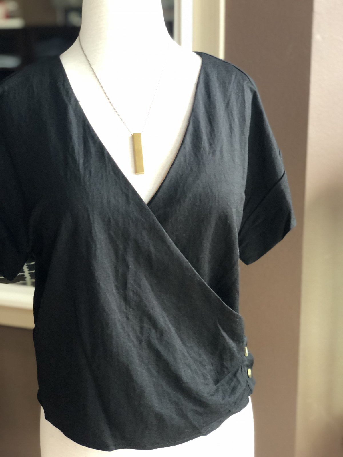 Angie side button wrap top