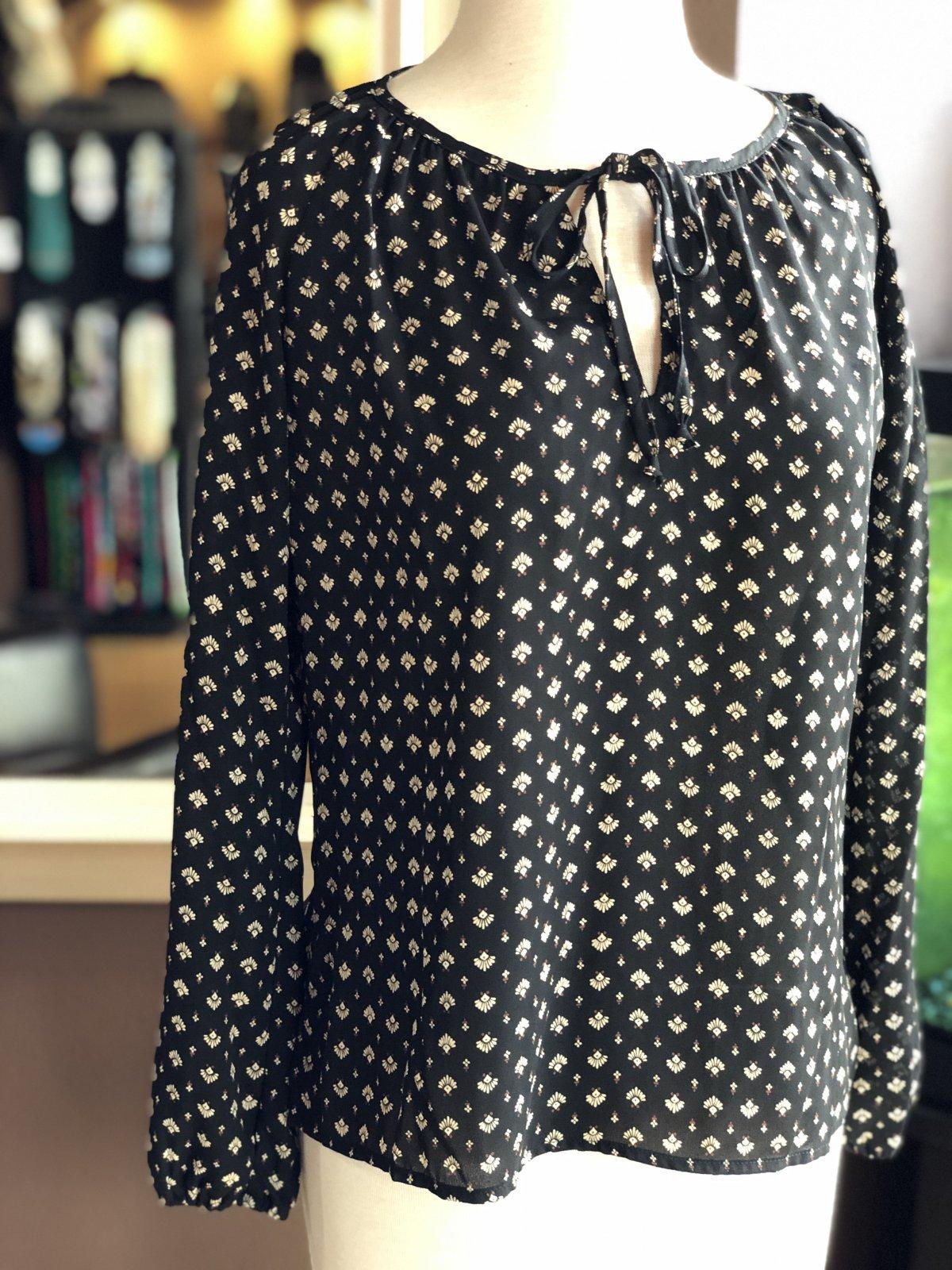 Veronica M peasant split neck blouse