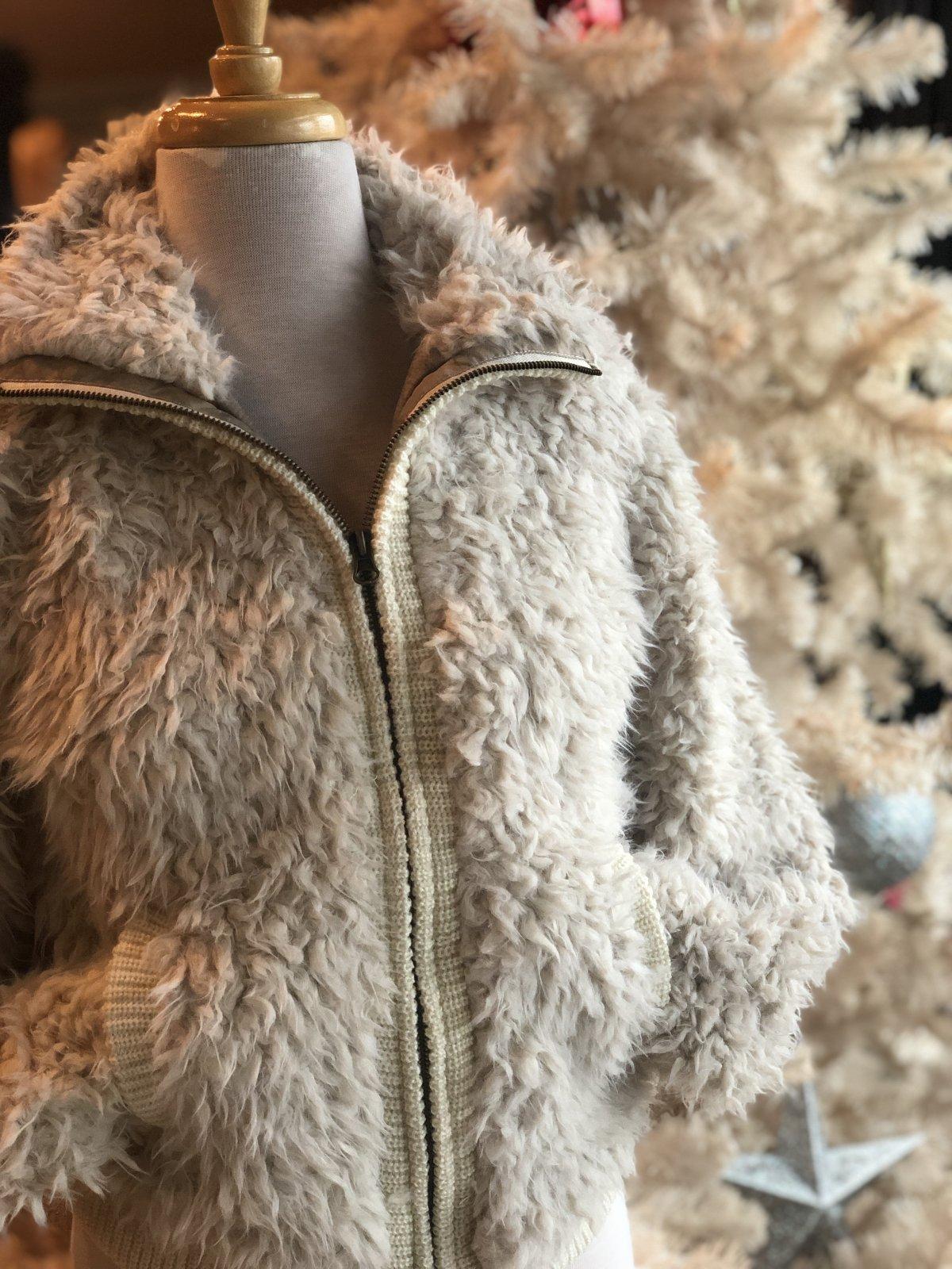 Angie furry bomber jacket