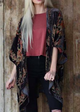 Angie burnout velvet kimono