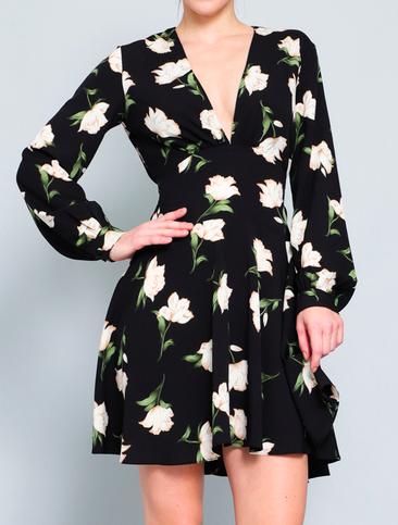 Aakaa deep V l/s mini dress