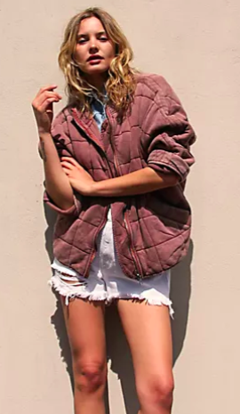 Free People Dolman Quilted Knit Jacket (Cherry Cola)