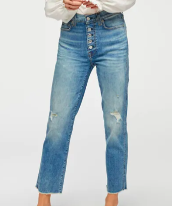 7 For All Mankind High Waist Cropped Straight With Frayed Hem