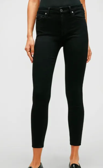 7 For All Mankind Slim Illusion Mid Rise Ankle Skinny in Luxe Black